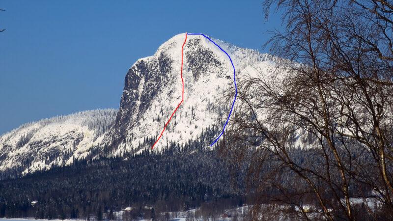 """Kalberget Red line"" aka Blomsterdalsleden SE Kalberget 682m ED-S5-E4-58° (60°) 2018-03-14 First decent"